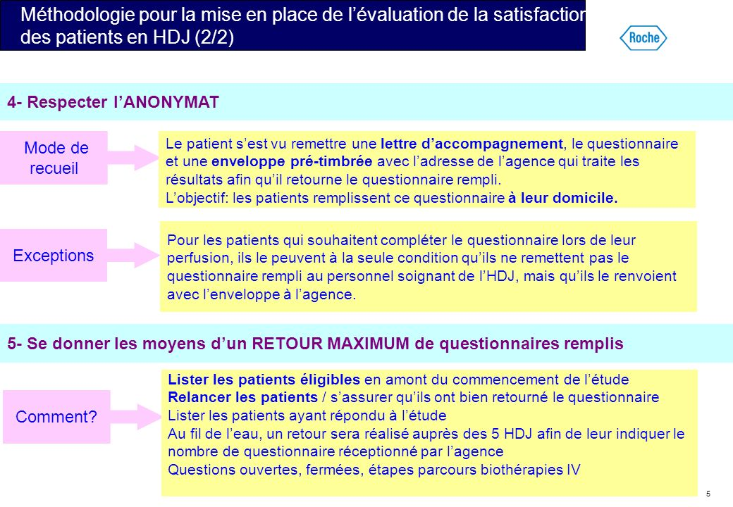 Méthodologie pour la mise en place de l'évaluation de la satisfaction des patients en HDJ (2/2)