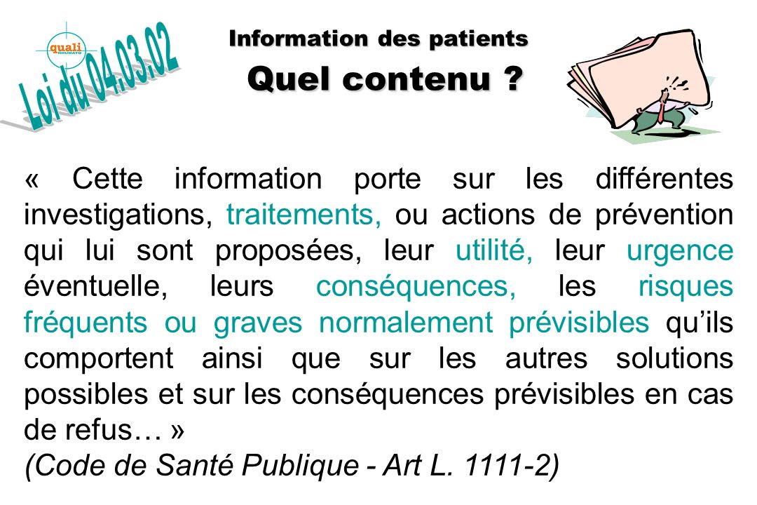 Information des patients Quel contenu