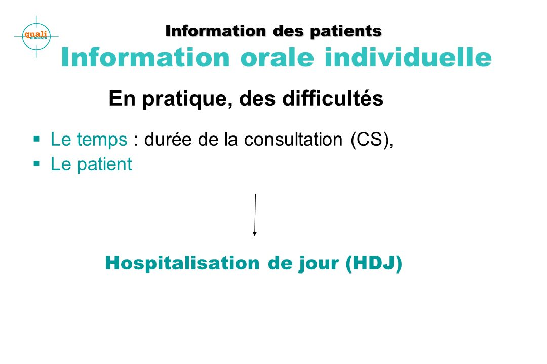 Information des patients Information orale individuelle