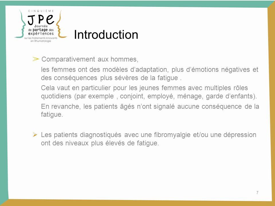 Introduction ➢ Comparativement aux hommes,