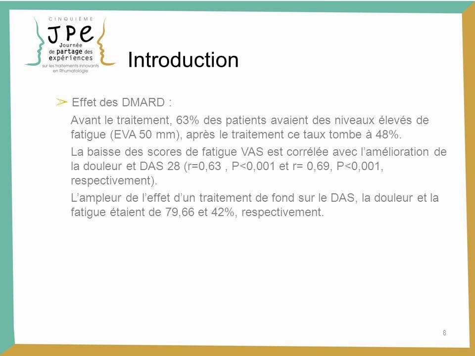 Introduction ➢ Effet des DMARD :