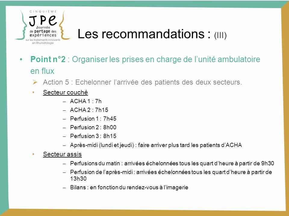 Les recommandations : (III)