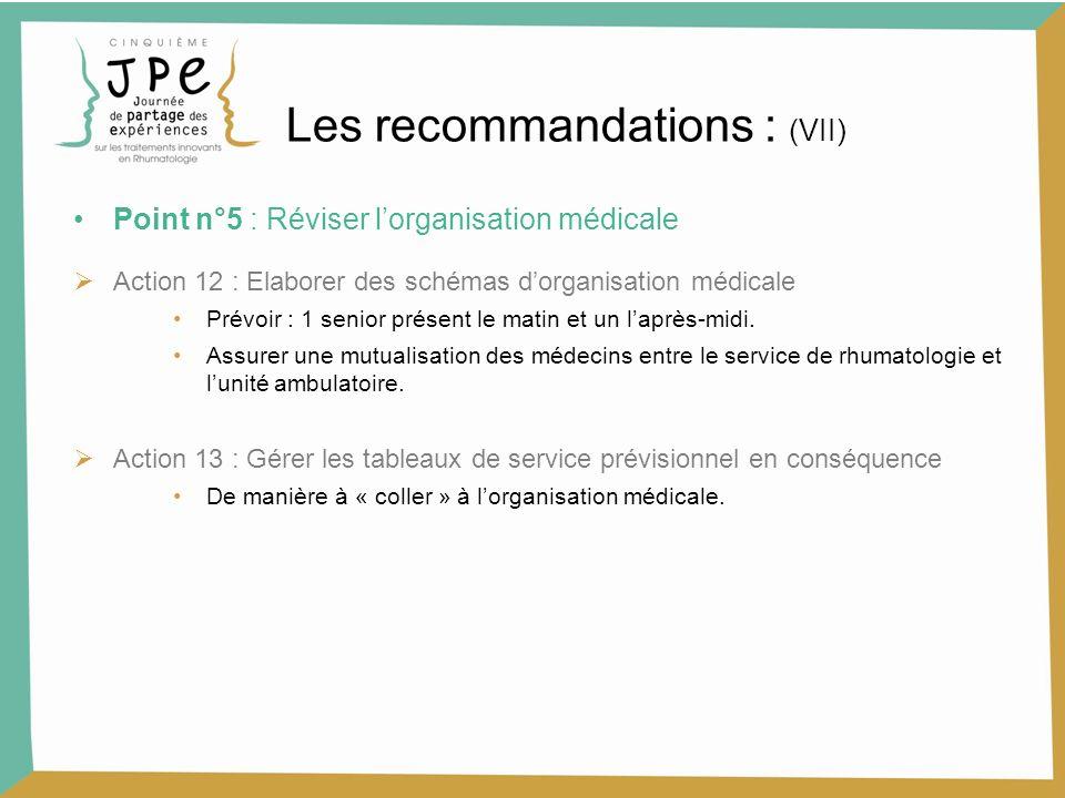 Les recommandations : (VII)