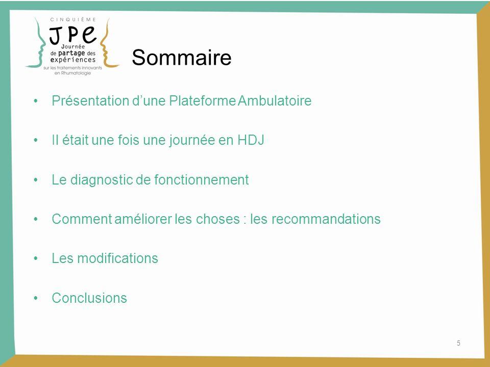 Sommaire Présentation d'une Plateforme Ambulatoire