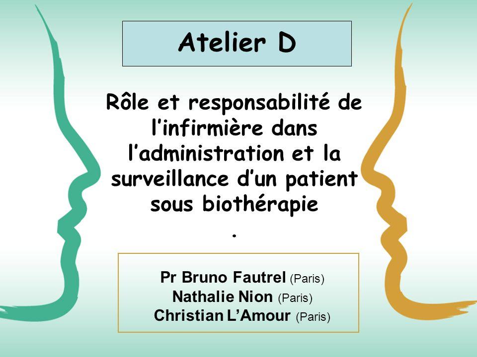Atelier D Rôle et responsabilité de l'infirmière dans l'administration et la surveillance d'un patient sous biothérapie .
