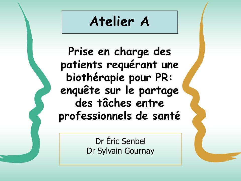 Atelier A Prise en charge des patients requérant une biothérapie pour PR: enquête sur le partage des tâches entre professionnels de santé.