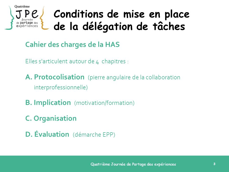 Conditions de mise en place de la délégation de tâches