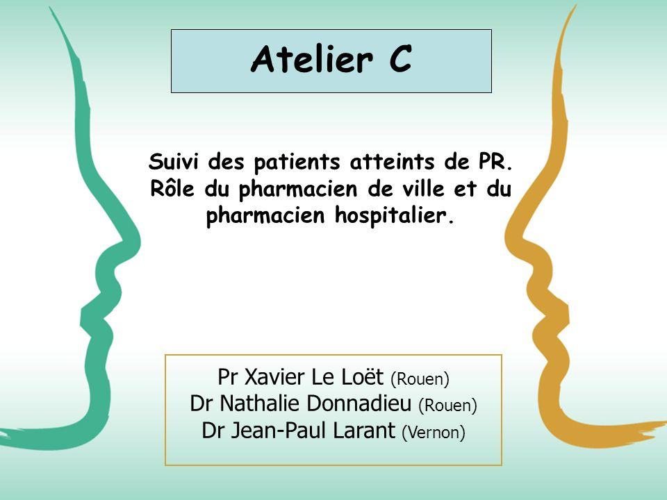 Atelier C Suivi des patients atteints de PR. Rôle du pharmacien de ville et du pharmacien hospitalier.