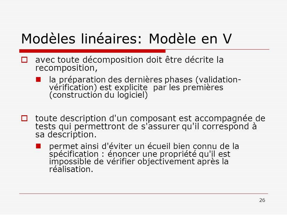 Modèles linéaires: Modèle en V