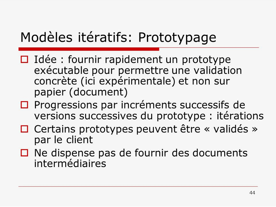 Modèles itératifs: Prototypage