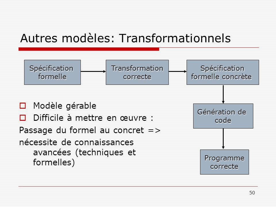 Autres modèles: Transformationnels