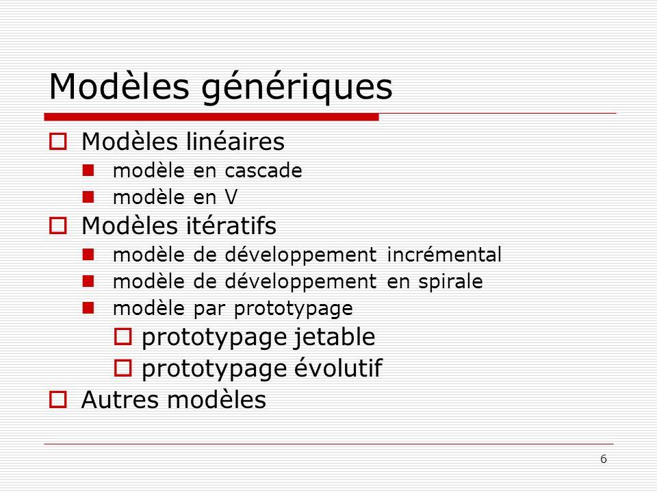 Modèles génériques Modèles linéaires Modèles itératifs