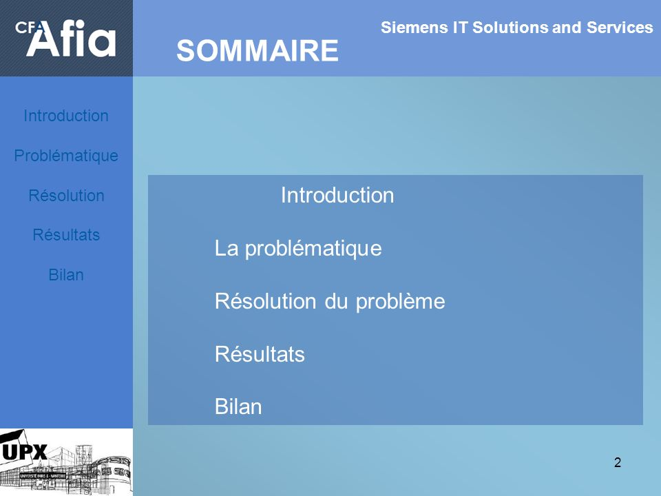 SOMMAIRE Introduction La problématique Résolution du problème