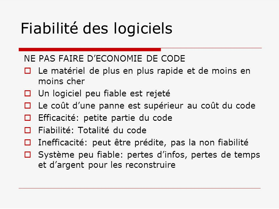 Fiabilité des logiciels