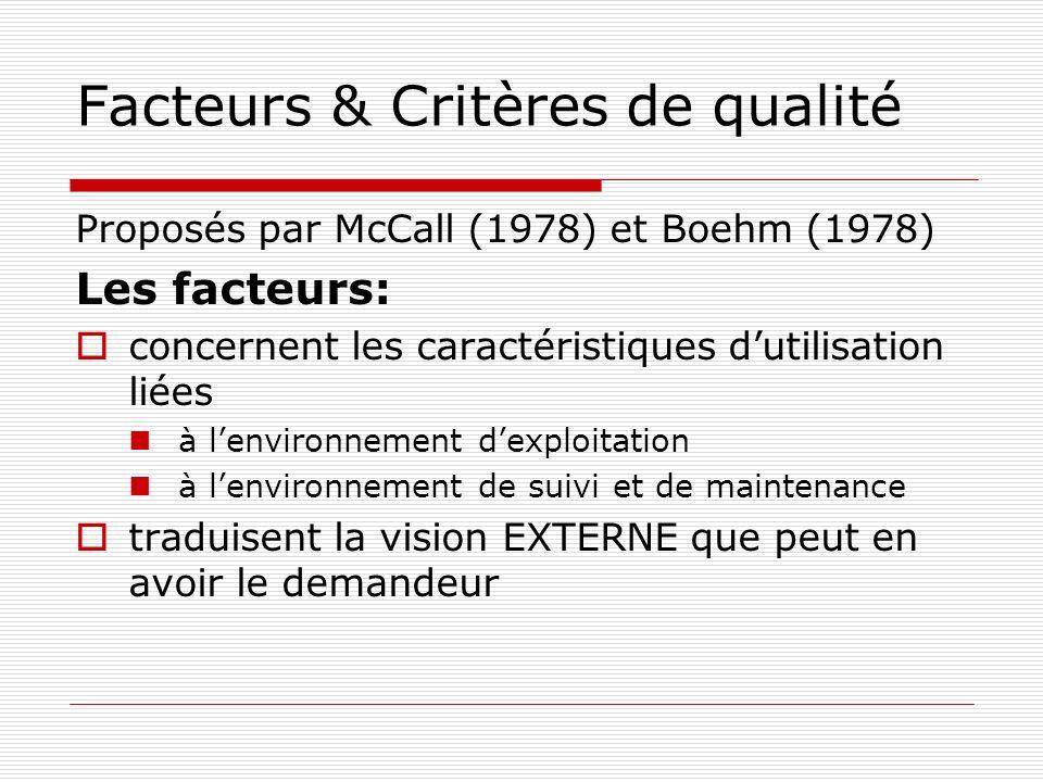 Facteurs & Critères de qualité