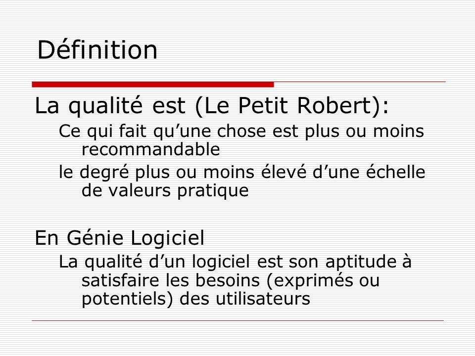 Définition La qualité est (Le Petit Robert): En Génie Logiciel