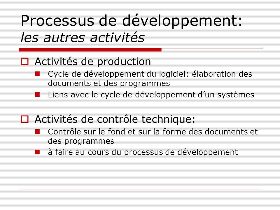 Processus de développement: les autres activités