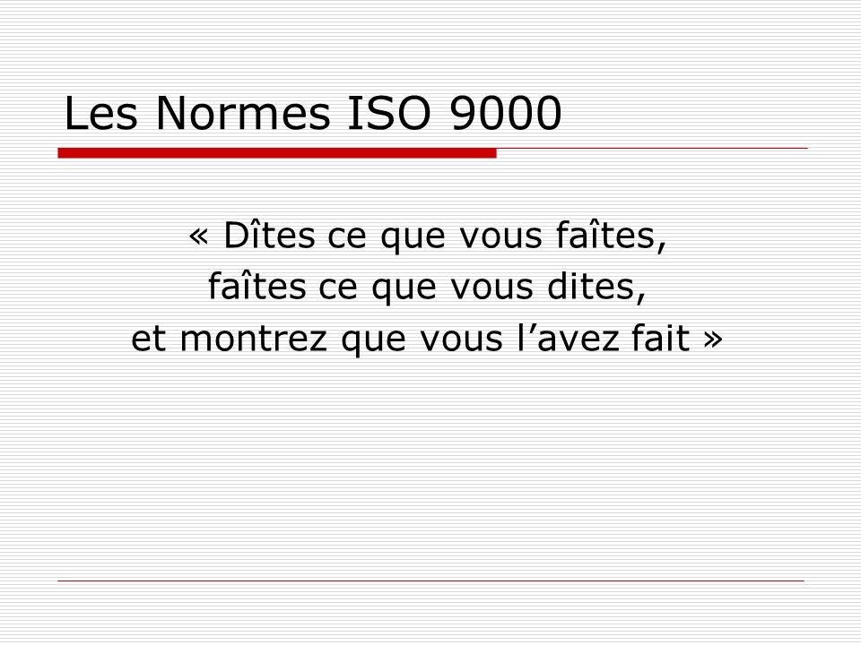 Les Normes ISO 9000 « Dîtes ce que vous faîtes,