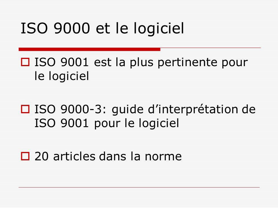 ISO 9000 et le logiciel ISO 9001 est la plus pertinente pour le logiciel. ISO 9000-3: guide d'interprétation de ISO 9001 pour le logiciel.