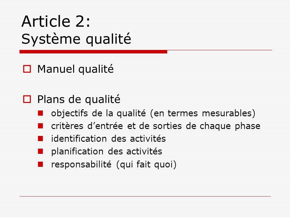 Article 2: Système qualité