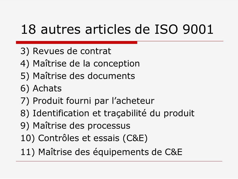 18 autres articles de ISO 9001 3) Revues de contrat