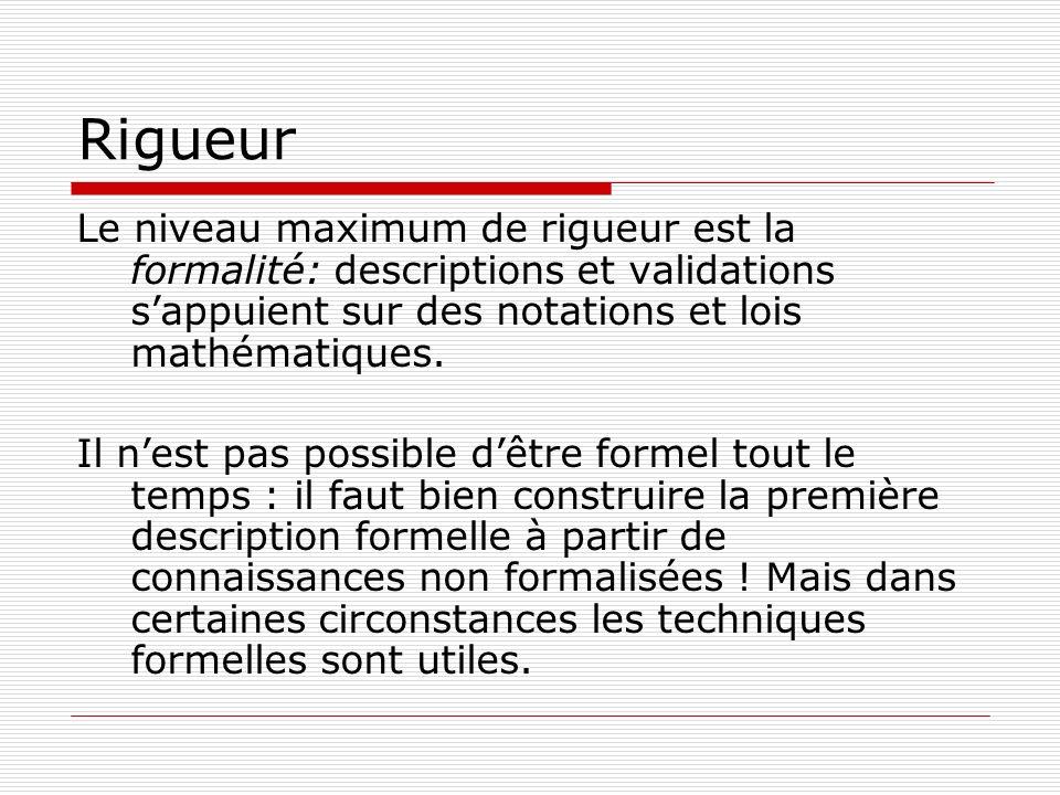 RigueurLe niveau maximum de rigueur est la formalité: descriptions et validations s'appuient sur des notations et lois mathématiques.