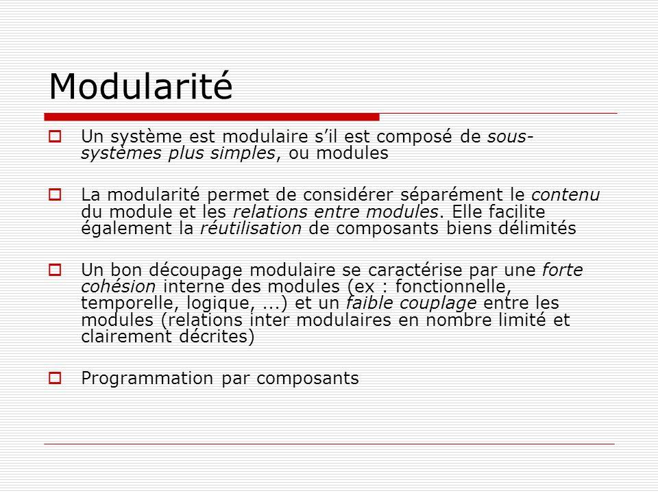 Modularité Un système est modulaire s'il est composé de sous-systèmes plus simples, ou modules.