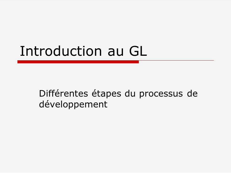 Différentes étapes du processus de développement