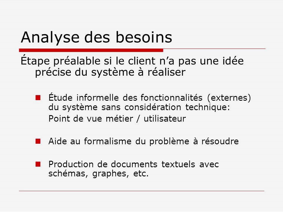 Analyse des besoins Étape préalable si le client n'a pas une idée précise du système à réaliser.