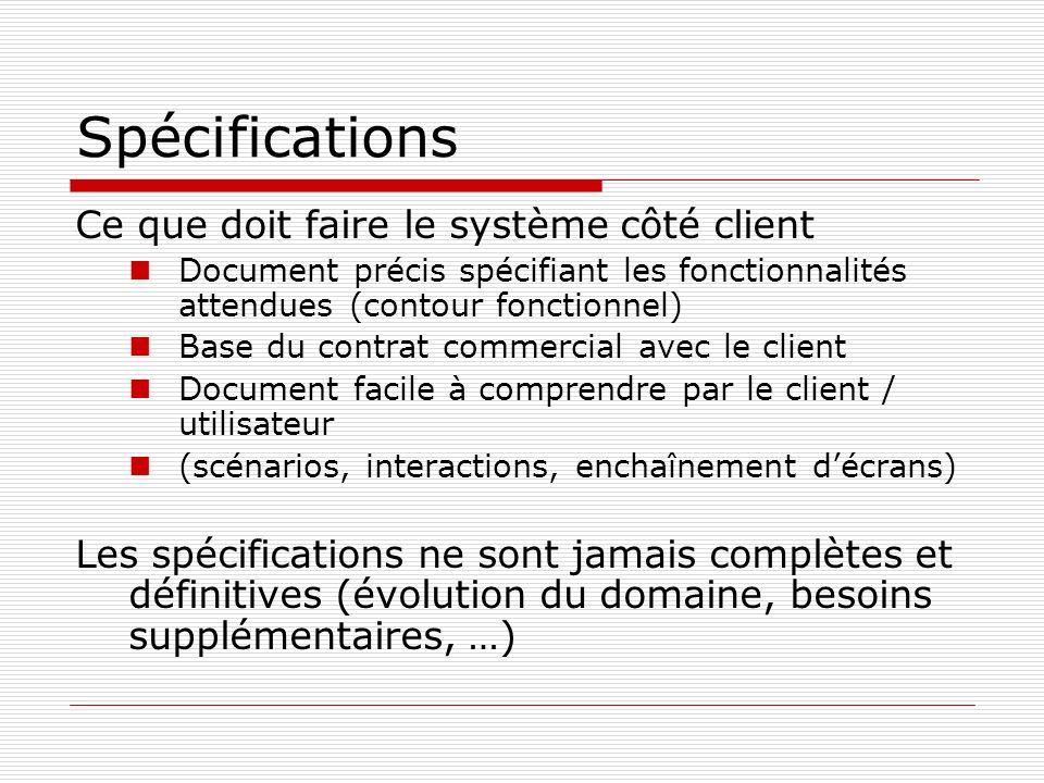 Spécifications Ce que doit faire le système côté client