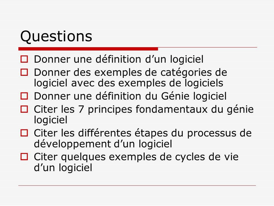 Questions Donner une définition d'un logiciel