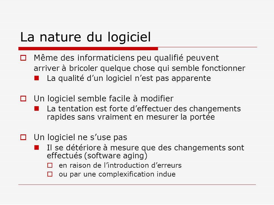 La nature du logiciel Même des informaticiens peu qualifié peuvent