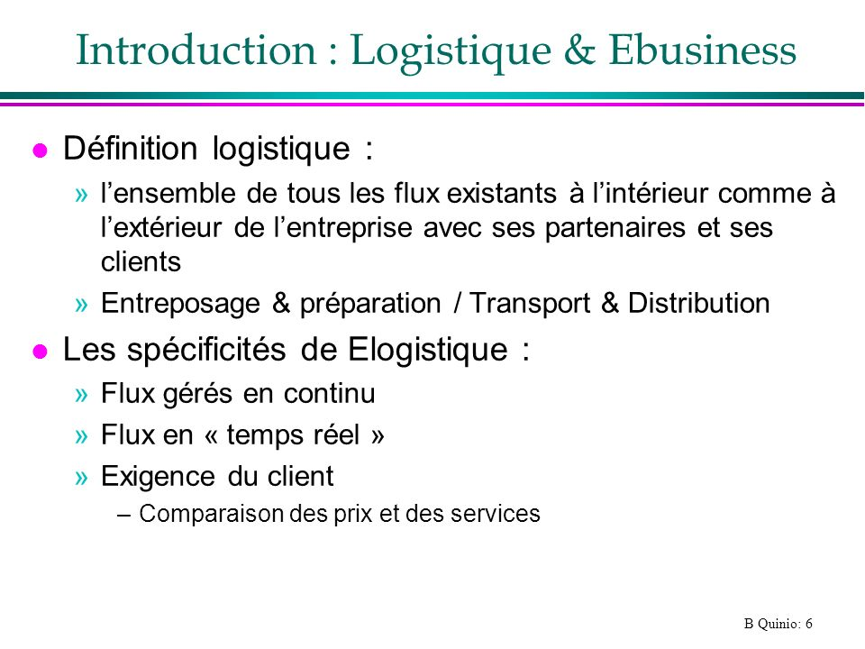 Introduction : Logistique & Ebusiness