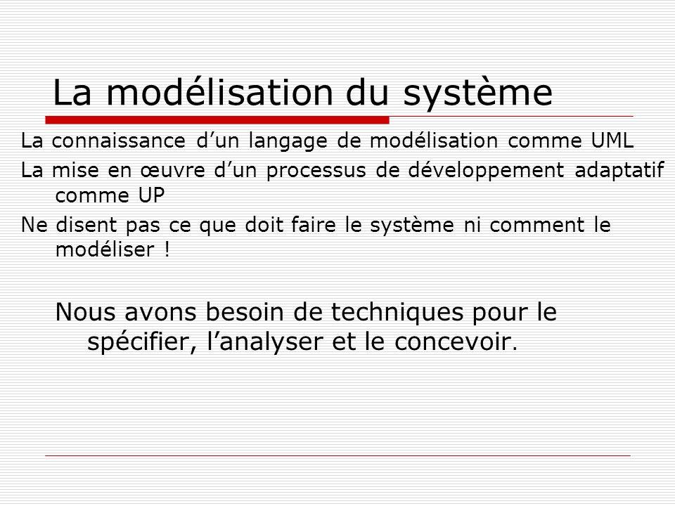 La modélisation du système