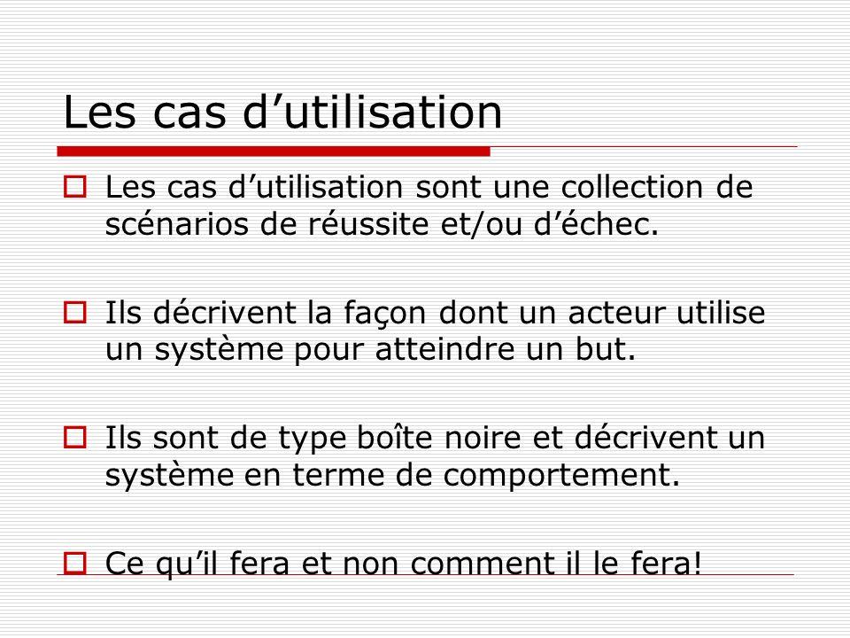 Les cas d'utilisation Les cas d'utilisation sont une collection de scénarios de réussite et/ou d'échec.