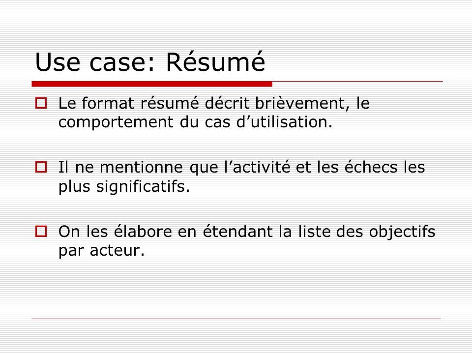 Use case: Résumé Le format résumé décrit brièvement, le comportement du cas d'utilisation.