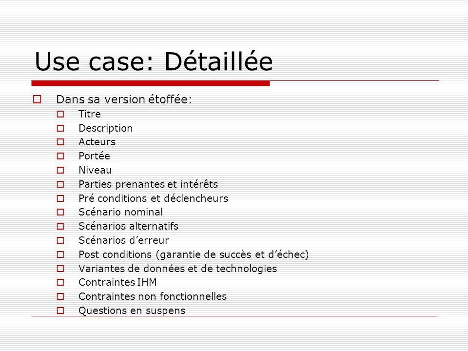 Use case: Détaillée Dans sa version étoffée: Titre Description Acteurs
