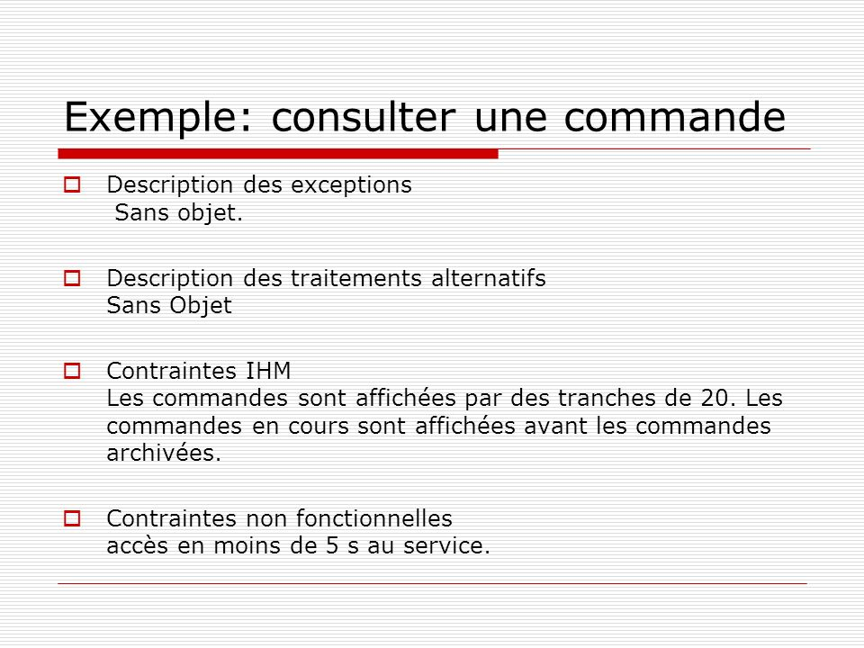 Exemple: consulter une commande