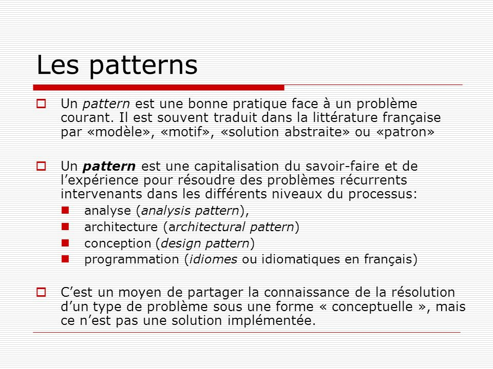 Les patterns