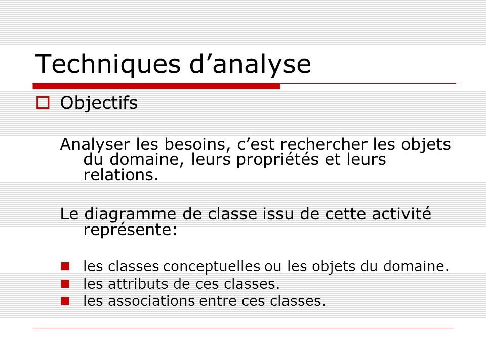 Techniques d'analyse Objectifs