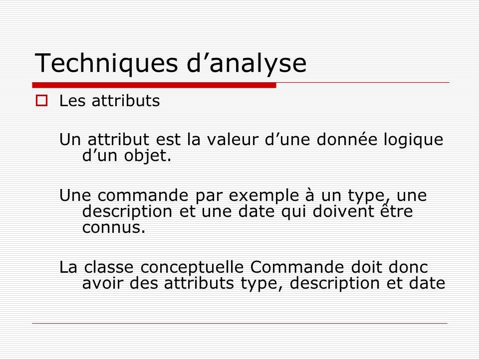 Techniques d'analyse Les attributs. Un attribut est la valeur d'une donnée logique d'un objet.