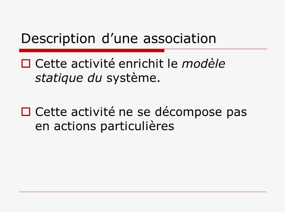 Description d'une association