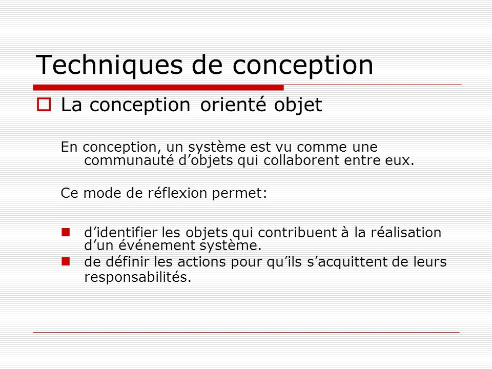 Techniques de conception