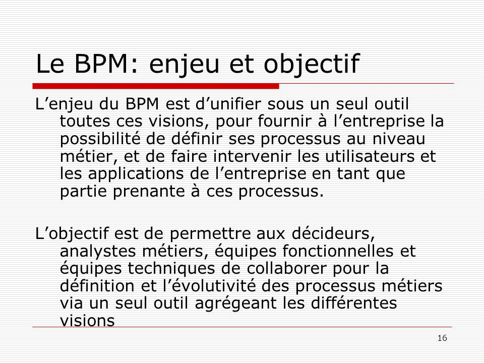 Le BPM: enjeu et objectif