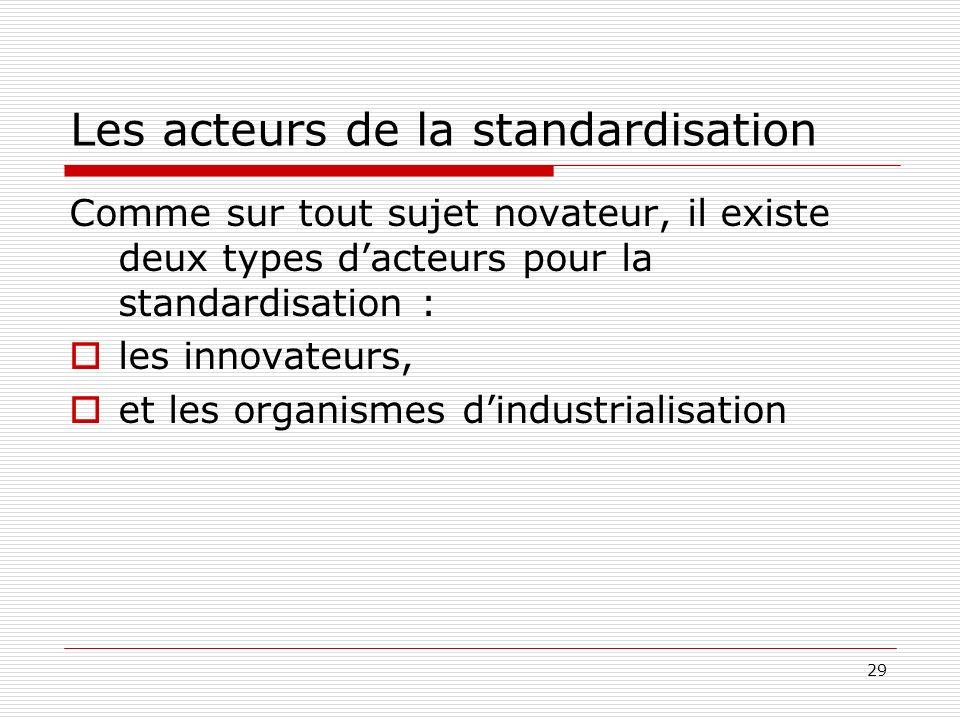 Les acteurs de la standardisation