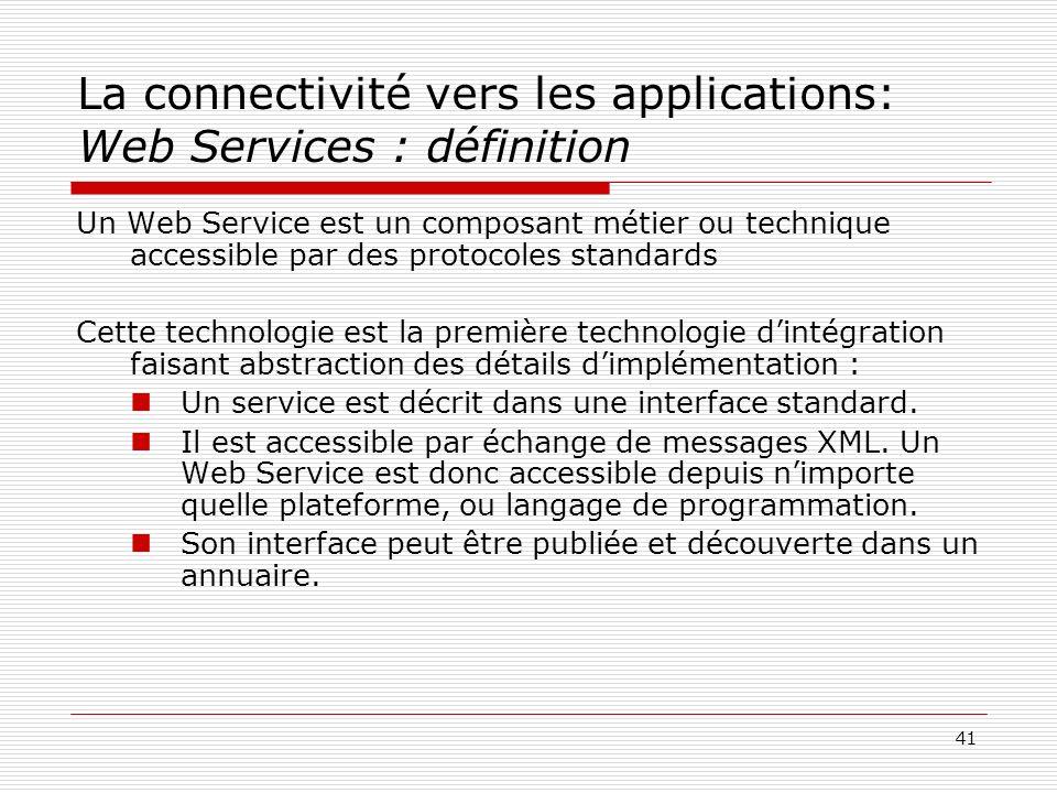 La connectivité vers les applications: Web Services : définition
