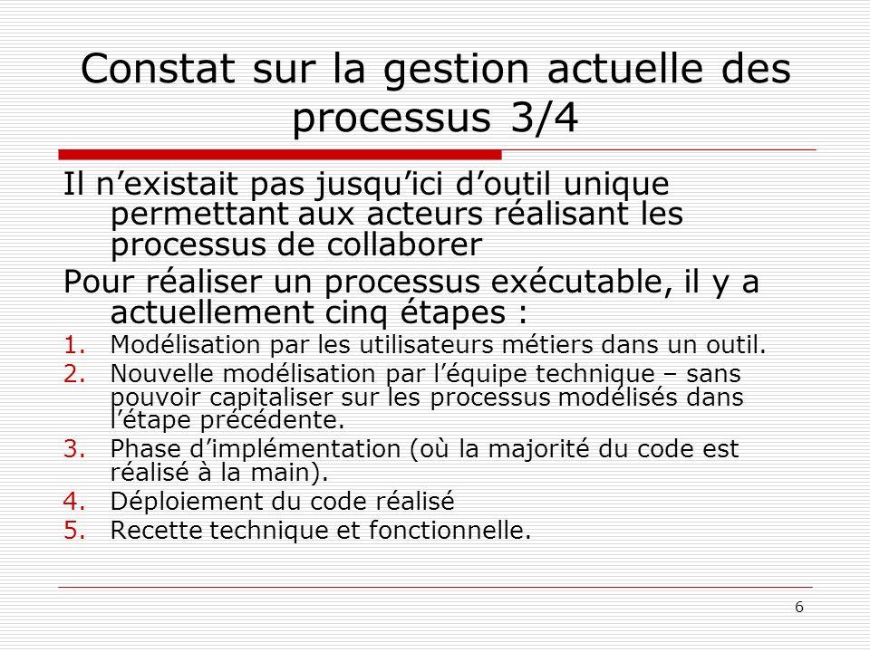 Constat sur la gestion actuelle des processus 3/4
