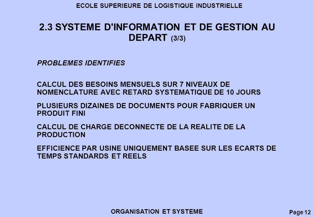 2.3 SYSTEME D INFORMATION ET DE GESTION AU DEPART (3/3)