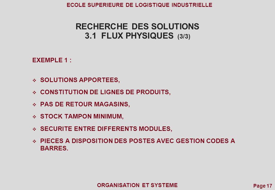 RECHERCHE DES SOLUTIONS 3.1 FLUX PHYSIQUES (3/3)