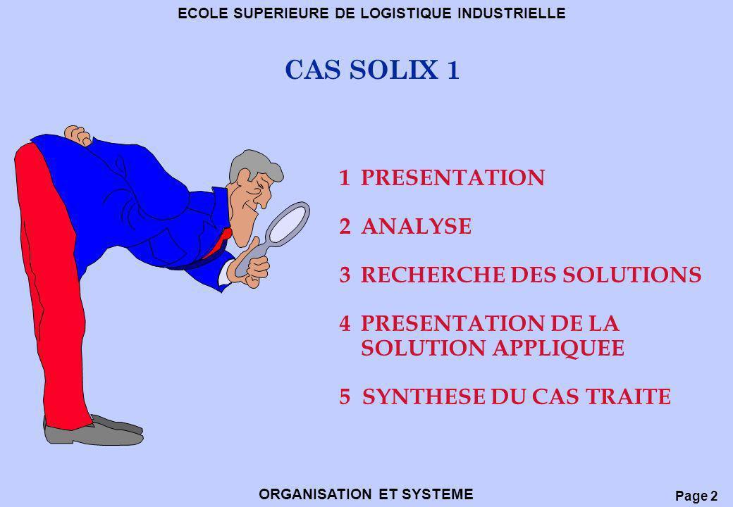 CAS SOLIX 1 1 PRESENTATION 2 ANALYSE 3 RECHERCHE DES SOLUTIONS